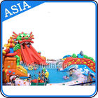 Outdoor  Commercial Inflatable Ground Water Park Slide with Pool , Moving Water Park